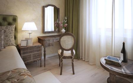 46284340 dressing table in het engels slaapkamer 3d render