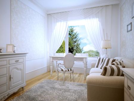 niños vistiendose: Vector de preparación en el dormitorio Provenza. Habitación luminosa con una gran ventana panorámica. simple mesa blanca con cajones. 3D rinden