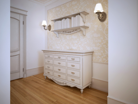 closet door: Classic hallway with closet door. Light wood flooring, white walls with decorative wallpaper molding. Whie dresser, book shelwes and sconces. 3D render