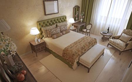 english oak: Traditional english bedroom interior. 3D render