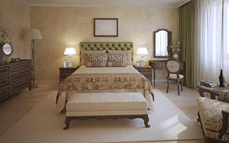 cama: Dormitorio principal estilo Inglés. Una habitación con cama de dos plazas, cabecera de oliva y muebles de roble oscuro. Banco y la alfombra blanca en el centro de la habitación. 3D render