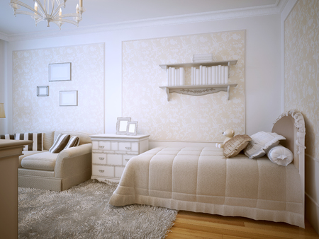stuffed toys: Luxury bedroom classic design. Seasoned with a single bed with pillows and stuffed toys. Wall shelves with books. White furniture and soft creamy sofa. Decorative wallpaper with molding. 3D render Stock Photo