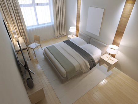 wall design: Idea of minimalist bedroom. 3D render