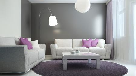 color design: Scandinavian living room trend. 3D render Stock Photo
