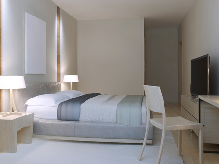 nylon: Hotel room minimalist style. Spacious room with dressed lether double bed, cozy table with chair near to window and white nylon carpet. 3D render