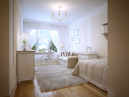 Bright teenage bedroom provence style. A cozy bedroom for a teenager in cream colors. Furniture made of light wood and white walls with decorative patterned inserts. 3D render Stock Photo