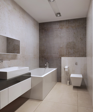 water closet: Contemporary wc idea. Decorative concrete textured plaster, white colored furniture, white ceiling with modern lamps and marble flooring of large tiles. 3D render