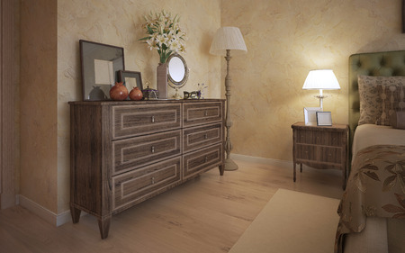 Classic Bedroom With Oak Furniture. 3D Render Stock Photo   46284394