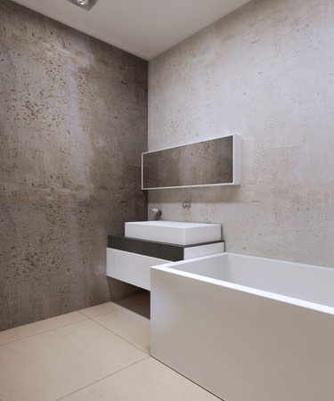 cream colored: Bathroom techno style. Decorative concrete textured walls, cream colored marble tile flooring, sink console and wide mirror. 3D render