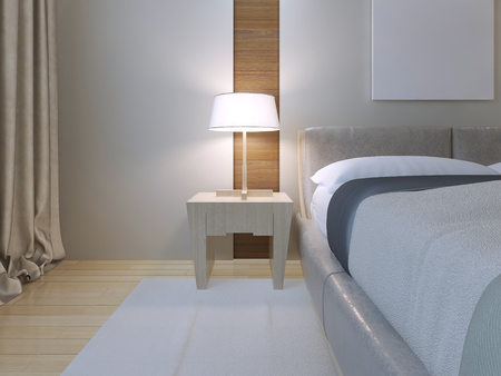 carpet and flooring: Bedroom minimalist style. Spacious room with double bed of lether, white walls with niche and white carpet on light wood parquet flooring. Light Bedside table with lamp. 3D render Stock Photo
