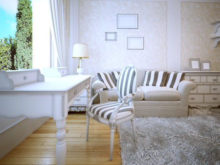 wood molding: Idea of provence lounge. A cozy room with a beautiful white walls with wallpaper molding inserts. Sofa with pillows and a gray carpet on the parquet floor of light wood. 3D render Stock Photo