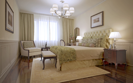 3d bedroom: Luxury bedroom english style. Inspiration for a traditional bedroom with monotone walls and dark tone hardwood floors. 3D render