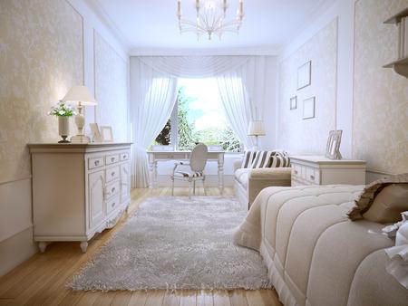 Idea of classic master bedroom. 3D render Stock Photo