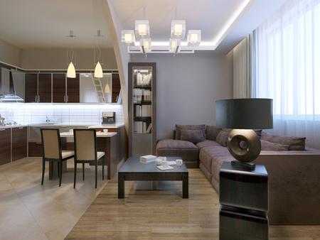 caoba: tendencia salón moderno estudio. 3D rinden Foto de archivo