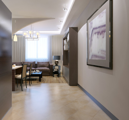 tile flooring: Entrance to kitchen studio. Contemporary kitchen with bar separated from living room by arch, mixed tile and linoleum flooring. 3D render