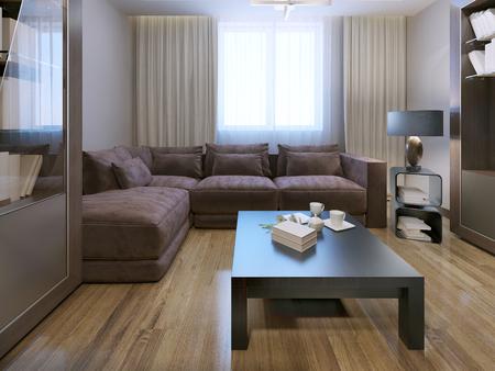 caoba: Salón estilo contemporáneo. 3D rinden Foto de archivo