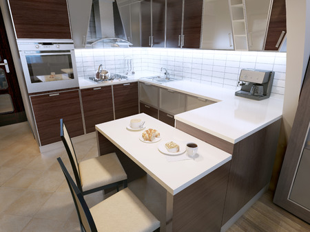 kitchen countertops: Modern zebrano kitchen design. Elegant kitchen with breakfast bar and chairs. Unusual shapes in cabinets, white acrylic countertops and white tiled backsplash. 3D render