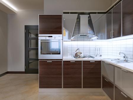 caoba: Idea de la cocina moderna. Nueva cocina con gabinetes de fachada Zebrano, capucha gris moderna con el bolsillo de cristal, backsplash baldosas blancas. 3D render Foto de archivo