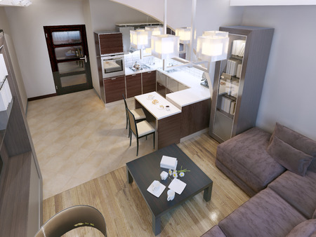 caoba: Sala de estar de estilo contemporáneo con una elegante cocina de acrílico moderna. Las paredes blancas y suelos mixtos. 3D render