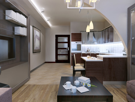 ceiling: Contemporary studio design. Kitchen with lounge  separated with beautiful but simple arch. Mixed flooring and white walls. Ceiling neon lamps. 3D render Stock Photo