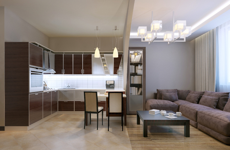 tv panel: Arch separated kitchen studio. Mixed flooring and ceiling, neon lamps and chandelier, bookcase and velvet sofa with pillows. Kitchen furniture in unusual shapes. 3D render