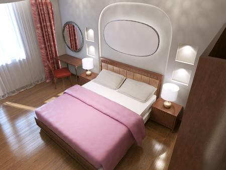 king size: Stylish king size bedroom. 3D render