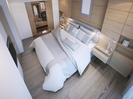 trend: Contemporary bedroom trend. 3D render Stock Photo