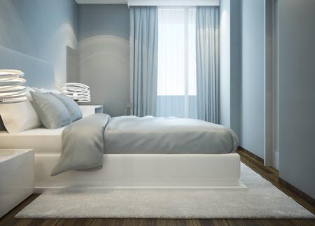 chambre à coucher: Lit blanc Milou dans la chambre bleue. Chambre de maître avec lit double avec matelas mou. Blanc tapis de laine. 3D render Banque d'images