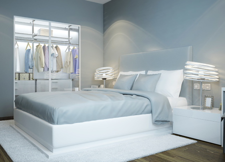 Scandinavian bedroom design. Light blue colored bedroom, wardrobe with glass sliding doors, futuristic lamps. 3D render Stockfoto