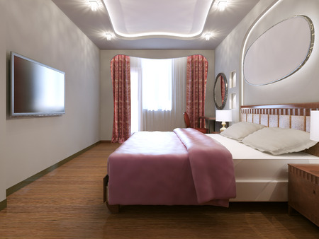 eclectic: Idea of eclectic master bedroom. Small eclectic bedroom with white walls and medium hardwood flooring. 3D render Stock Photo