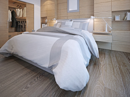 Idea of contemporary bedroom. Master bedroom with walk-in closet. White walls with decorative wood panels, hardwood flooring. 3D render