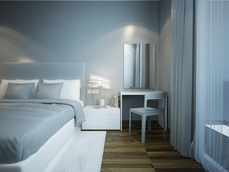 parquet flooring: Blue bedroom techno style with brown parquet flooring. Dressed bed with soft mattress. Dressing table with great mirror without frame. 3D render