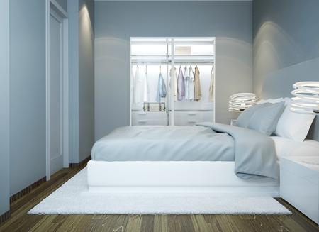 Moderne Schlafzimmer Design. 3D übertragen Photo