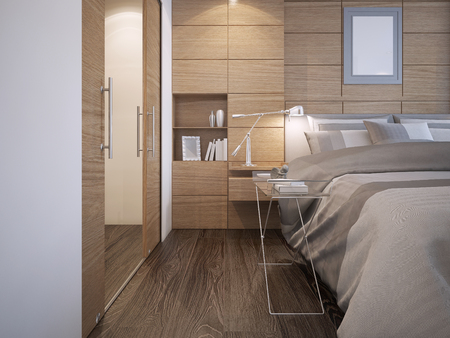 flooring: Beautiful bedroom design. Wood panel wall decoration with niche, white walls, elegant bed with console, hardwood parquet flooring and walk-in closet. 3D render