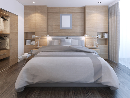 Elegant bedroom with wall decoration. Spacious room with lush bed, white walls with decorative wooden panels and entrance to wardrobe. 3D render