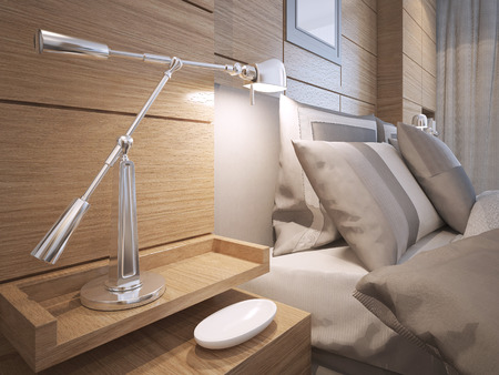bedside: Idea of loft bedroom. Bedside shelves with lamp in room with brown paneled walls. 3D render Stock Photo