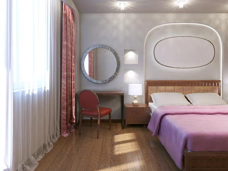 bedchamber: Art nouveau hotel bedroom design. Stylish room with dressing table. Double bed with pink blanket. 3D render Stock Photo