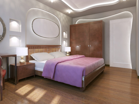 neon lights: Fabulous bedroom modern style. White walls and ceiling with niche and white neon lights. Dark wood parquet flooring. 3D render