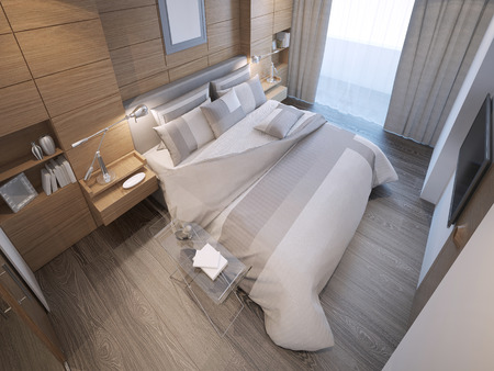 Design of loft hotel bedroom. Decorated by wooden paneling forms, a strong focal point behind the bed. 3D render Archivio Fotografico