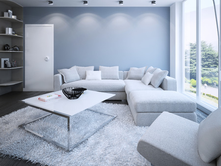 living room minimalist: Contemporary lounge with blue walls. 3D render