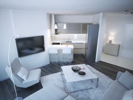 living room sofa: Techno lounge room studio. Minimalistic acryl kitchen and elegance entrance. 3D render