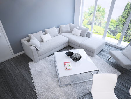 Innenausstattung Techno Wohnzimmer Innenraum Gerumiges Zimmer Mit Weien  Mbeln Blauen Wnden Und Dunkelbraunen   Muster Zimmer