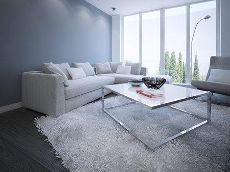 living room sofa: Minimalist sitting room design. 3D render