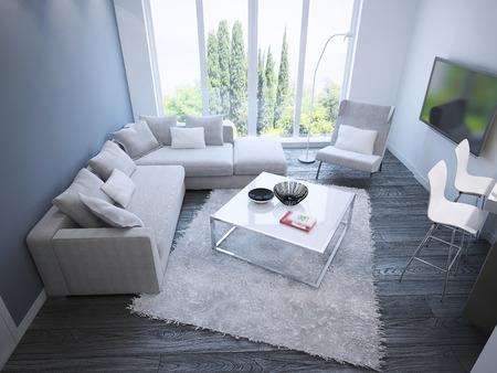 trend: Techno sitting room trend. 3D render Stock Photo