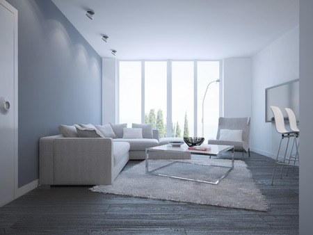blue carpet: Idea of bright minimalist lounge. Elegant room with white furniture and a wool carpet. Unusual metal table with matt glass tabletop. 3D render
