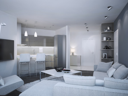 acryl: Minimalist apartment studio. Acryl kitchen with bar and mixed two colored walls, - blue and white. 3D render Stock Photo