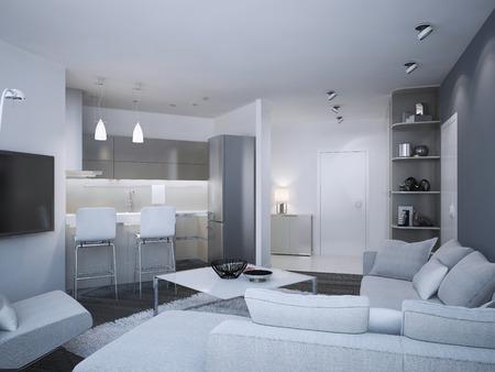 #46284495   Minimalist Wohnung Studio. Acryl Küche Mit Bar Und Misch Zwei  Farbige Wände,   Blau Und Weiß. 3D übertragen