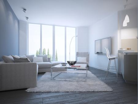 contemporary living room: Contemporary living room studio. 3D render