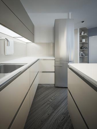 glass panel: Kitchen minimalist style. 3D render