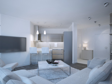 Scandinavian apartment studio with small contemporary kitchen. White walls and furniture, brown flooring and grey kitchen furniture. 3D render